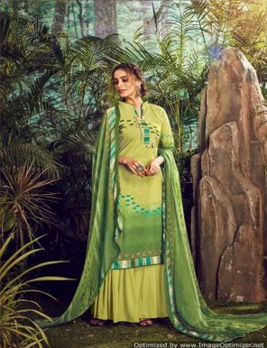 pista green pure pasmina fabric digital print work casual