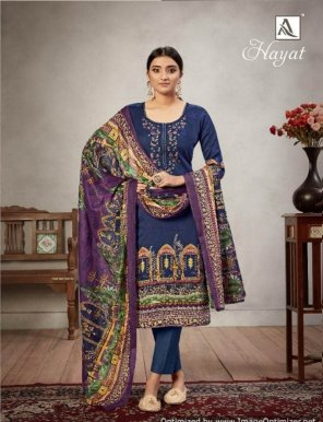 navy blue pure jam fabric thread with embroidery work festival