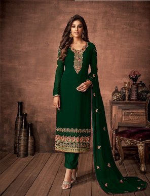 green faux georgette fabric embroidery with stone work festival