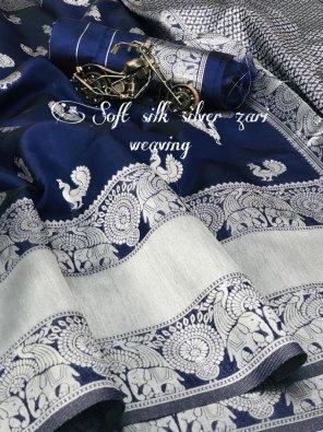 navy blue soft cotton fabric weaving work festival