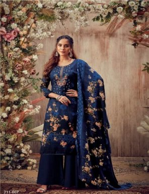navy blue pure pashmina fabric print with embroidery work casual