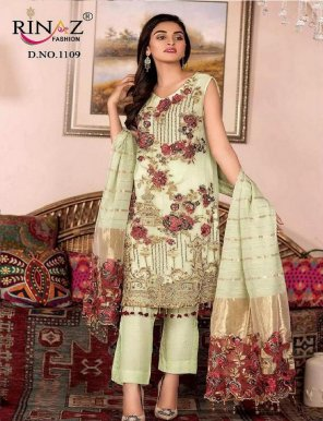 lime green fox georgette fabric heavy embroidery work festival