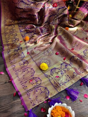 indigo kanjivaram silk fabric weaving work wedding