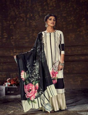 off white pure pasmina fabric print with khatli hand work festival