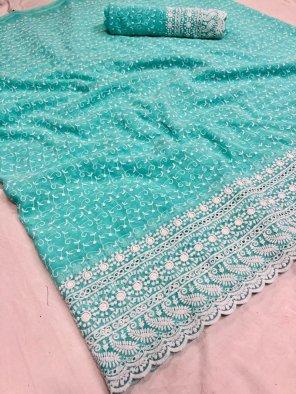 mint cotton fabric meenakari  work casual