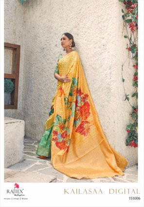 yellow silk fabric print work festival