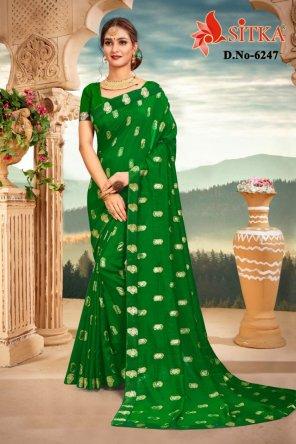 green vichitra silk fabric foil print work casual