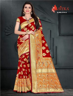 red cotton silk fabric thread work wedding