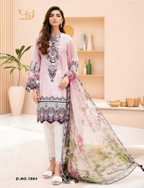 baby pink pure lawn cotton fabric print work festival