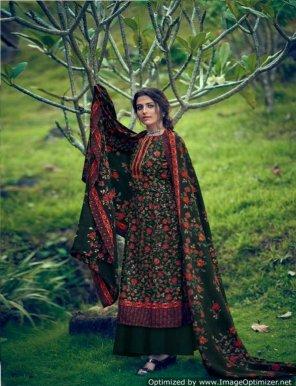 green pure pashmina fabric print work casual