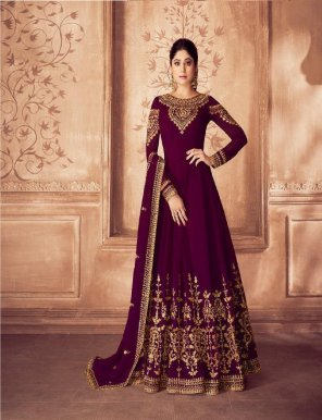 wine real georgette fabric embroidery work wedding