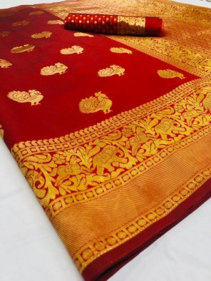 red lichi silk fabric weaving work festival