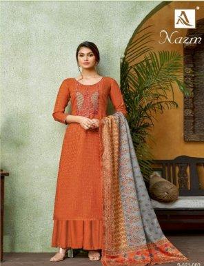 rust heavy pashmina fabric kashmiri embroidery work festival