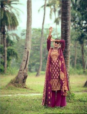 magenta pure pashmina fabric digital print work festival