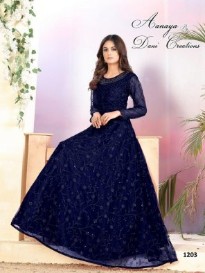 navy blue net fabric sequence with thread  work party