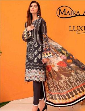black pure lawn cotton fabric print work casual