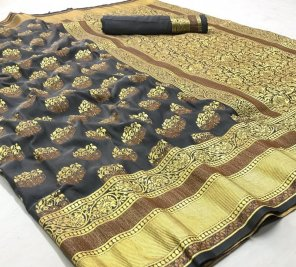 black banarasi silk fabric weaving work festival