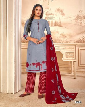grey pure cotton fabric print work casual