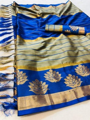 royal blue cotton silk fabric weaving work casual