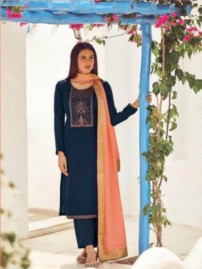 navy blue pashmina fabric self embroidery work festival