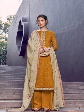mustard yellow pashmina fabric embroidery work festival