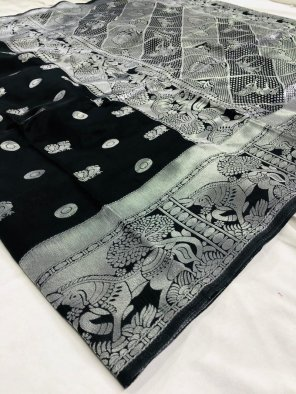black soft lichi silk fabric silver thread work festival