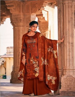 brown pure pashmina fabric heavy embroidery work festival