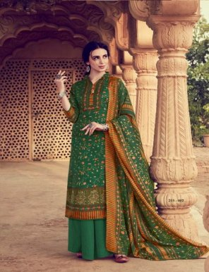green pure pashmina fabric digital print work festival