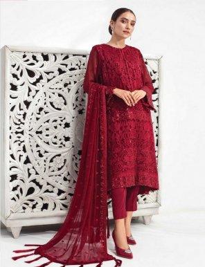 maroon faux georagette fabric heavy embroidery work festival
