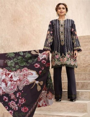 black pure lawn  fabric print work casual