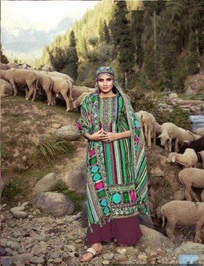 magenta pashmina jacquard fabric print with diamond work festival