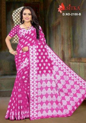 rani pink cotton silk fabric weaving work casual