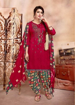 rubby red pure pasmina fabric print with embroidery work casual