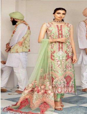 pista butterfly net fabric embroidery work wedding