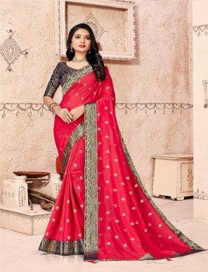 candy pink vichitra silk fabric foil print work weaving