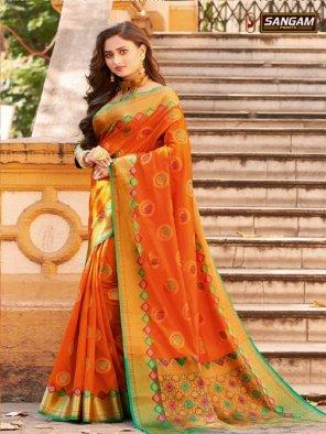 orange kanjivaram silk fabric weaving work festival