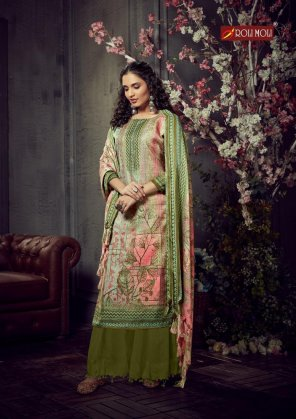 apple green pashmina jacquard fabric diamond  work festival