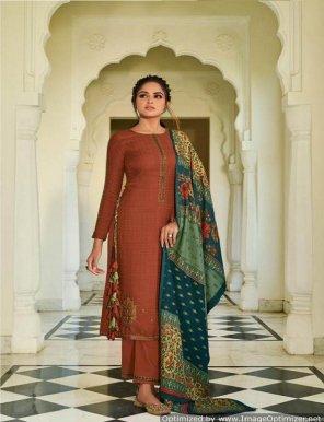rust pure pashmina fabric kashmiri embroidery work festival