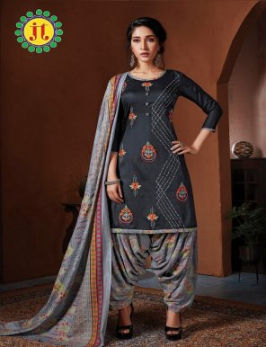 charcoal pure jam cotton fabric embroidery work festival