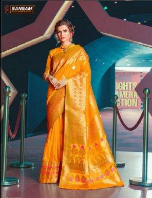 merigold yellow pure silk fabric weaving work festival