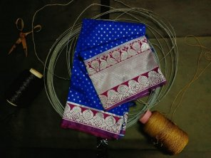 royal blue kanjivaram fabric weaving work festival