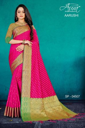 hot pink kanjivaram pattu silk fabric weaving work festival