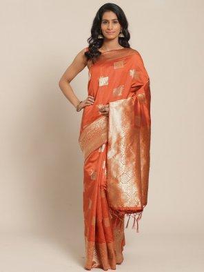 orange silk  fabric weaving work festival