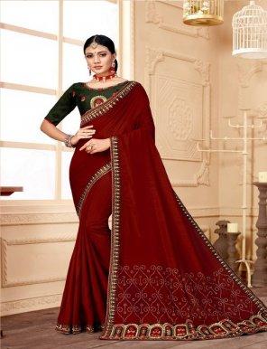 maroon vichitra silk fabric embroidery work wedding
