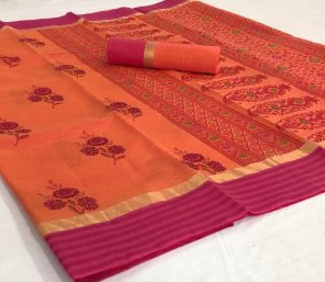 orange pure chanderi fabric printed work casual