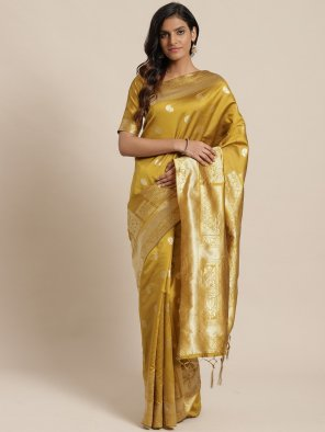 mustard yellow silk  fabric weaving work festival