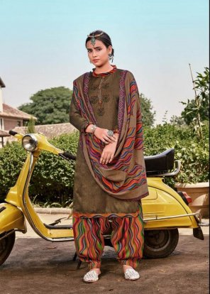 brown pure pashmina fabric embroidery work festival