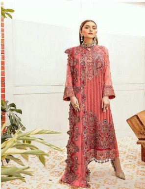 red fox georgette & net fabric heavy embroidery work wedding