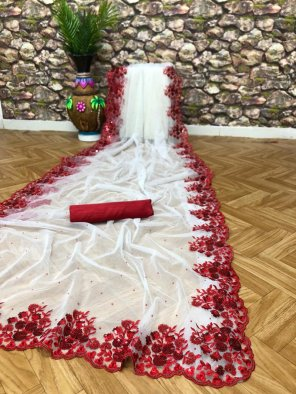 white soft net fabric sequence with red pearl work party