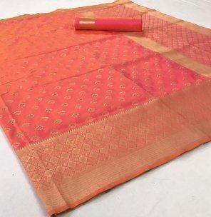 peach soft silk fabric weaving work festival